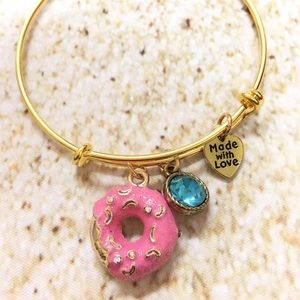 Jewelry - Gold plated pink donut adjustable charm bracelet